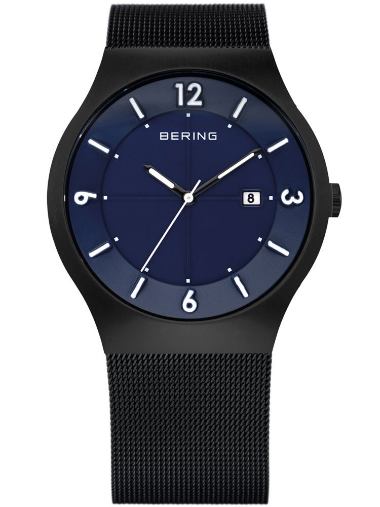 Bering Solar Watch Classic 14440-227 Men's Watch Black Blue 40 mm