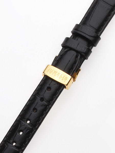 Juwelis Replacement Strap JW-0602 16 x 185 mm Black Gold Folding Clasp