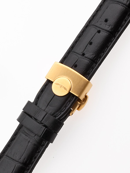 Perigaum Leather Strap 22 x 175 mm Black Gold Folding Clasp