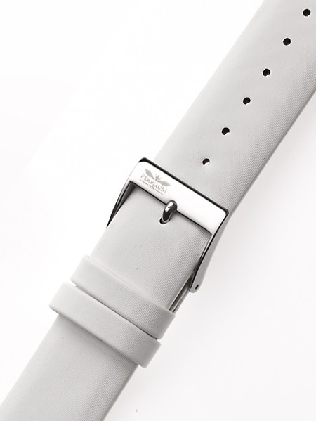 Perigaum Leather Strap 22 x 170 mm White Silver Clasp