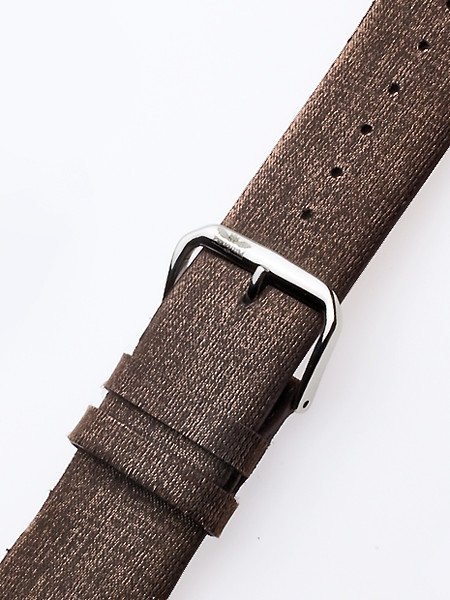 Perigaum Textile-leather-strap 28 x 170 mm Brown Silver Clasp