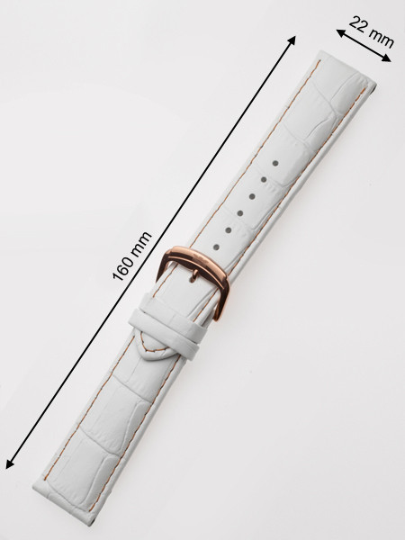 Perigaum Leather Strap 22 x 160 mm White Rose Clasp