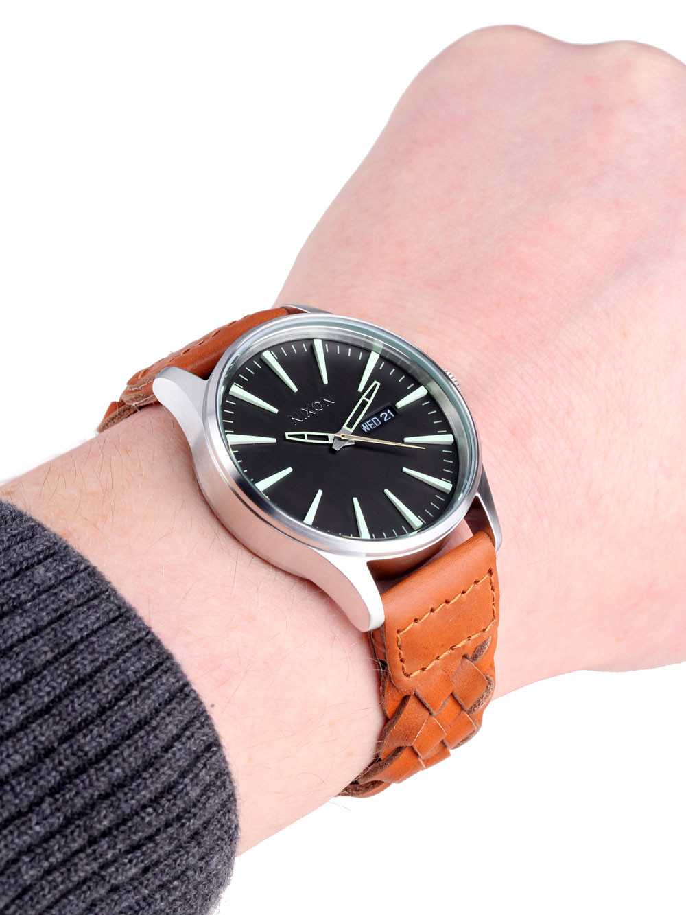 NIXON A105-1959 Sentry Leather Dark Copper Saddle Woven