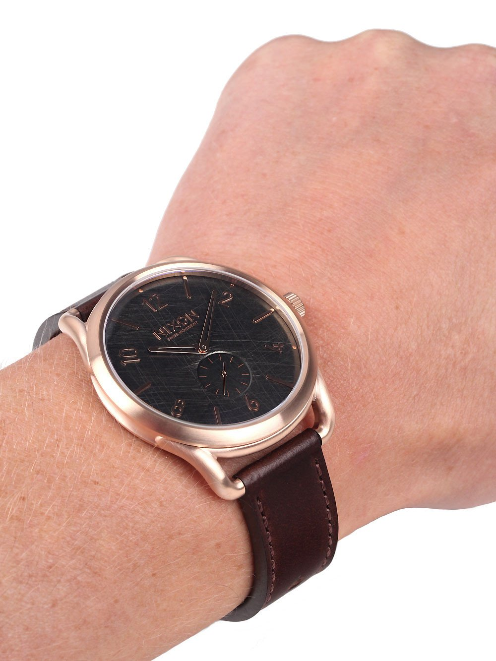 NIXON A465-1890 C45 Leather Rose Gold Brown 45mm 10 ATM