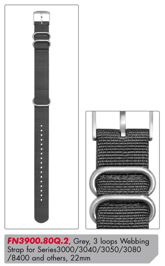 Luminox Textile Replacement Strap FN3900.80Q.2 [22 mm] grey + silver Buckle