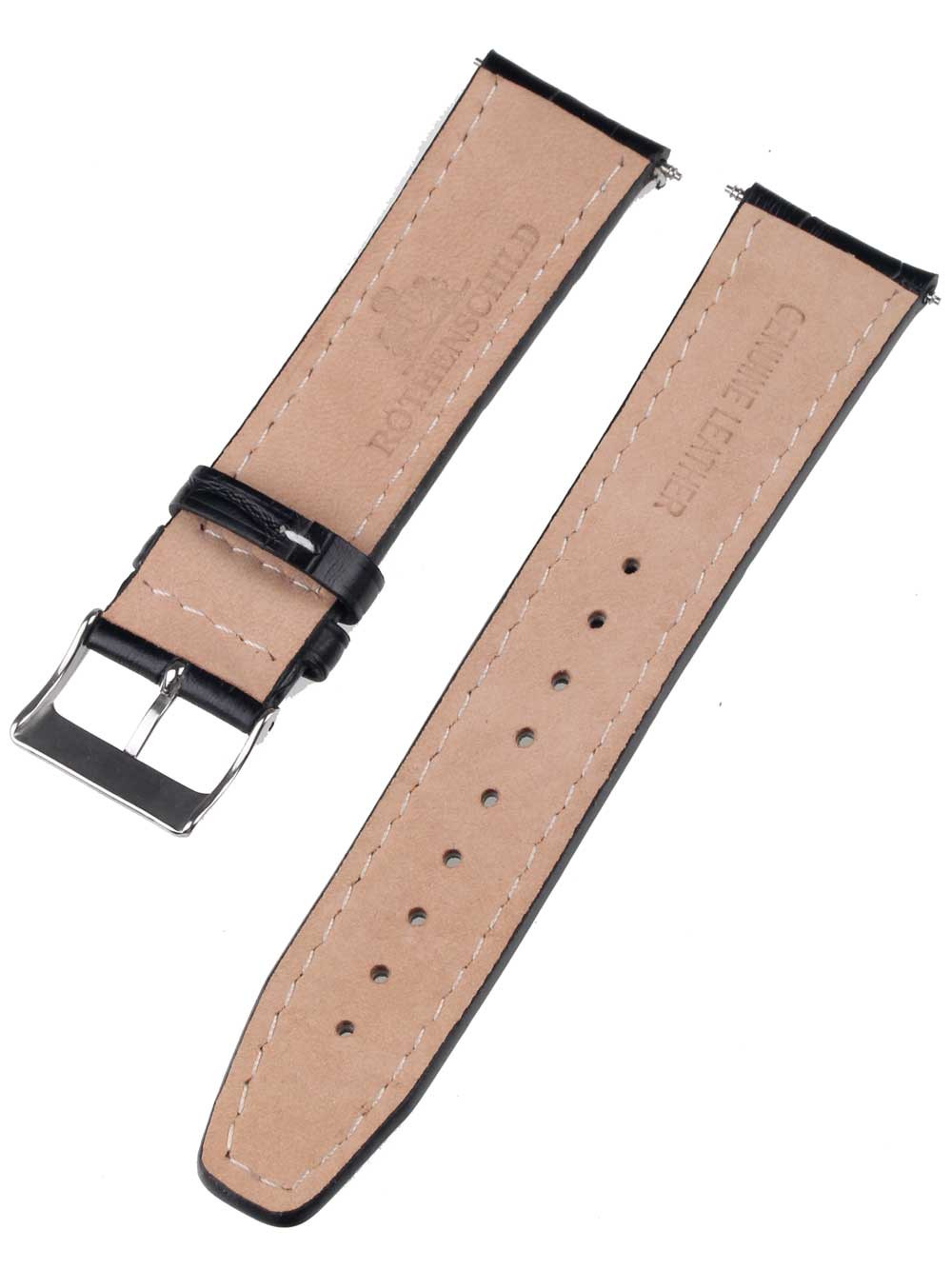 Rothenschild mid-17756 Universal Strap 22mm Black, Silver buckle