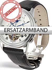 Perigaum Replacement Strap Black 24 mm With Folding Clasp Silver