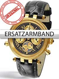 Perigaum Replacement Strap in Black for Millennium Ladies P-0606-GS Gold Clasp