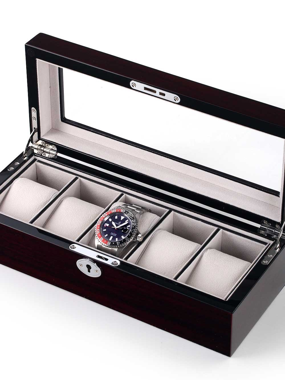 Rothenschild Watch Box RS-2030-5C for 5 Watches Cherry