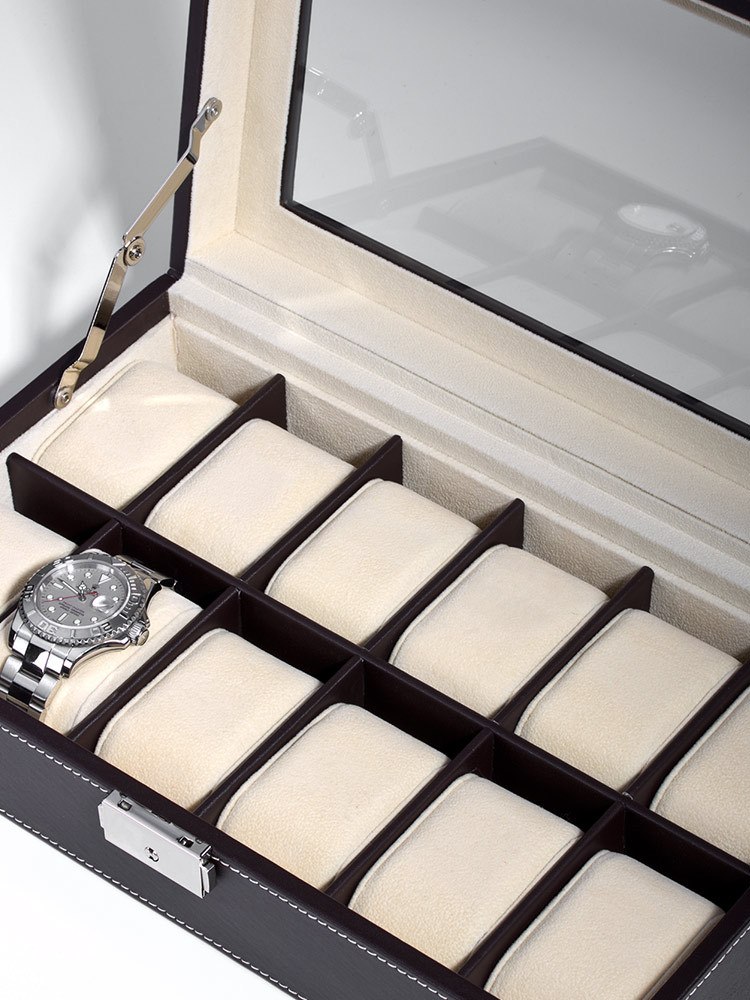 Rothenschild Watch Box RS-1098-12DBR for 12 Watches Brown