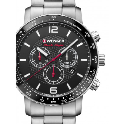 Wenger 01.1843.103 Roadster Black Night Chronograph 44mm 10 ATM