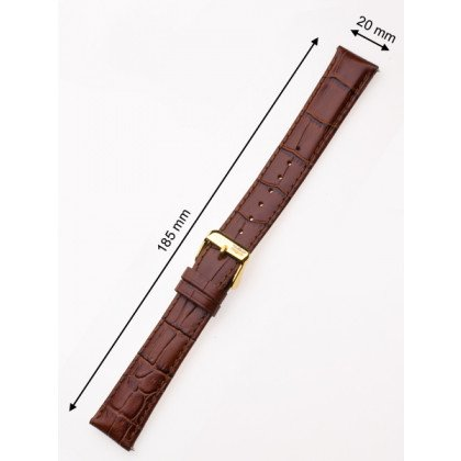 Perigaum Leather Strap 20 x 185 mm Brown Gold Clasp