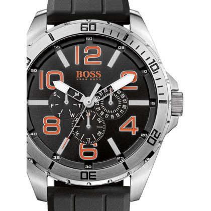 BOSS Orange 1512945 Men's Multifunction Black Silver Orange 48 mm