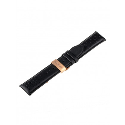 Universal Replacement Strap [24 mm] black + rosé folding clasp Ref. 23835