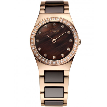 Bering Ceramic 32426-765 Ladies Rose Gold Brown 26 mm