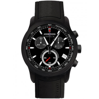 Zeppelin Night Cruise 7290-2 Men's Watch Black Chronograph 43 mm 10 ATM