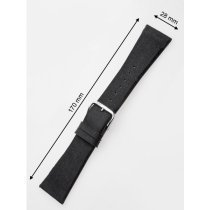 Perigaum Textile-leather-strap 28 x 170 mm Black Silver Clasp