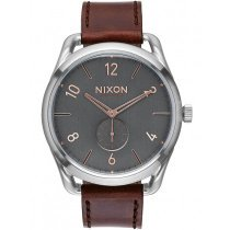NIXON A465-2064 C45 Leather Gray Rose Gold 45mm 10 ATM