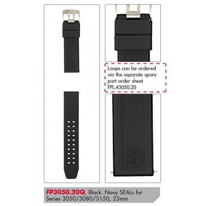 Luminox PU Replacement Strap FP3050.20Q [23 mm] black + silver Buckle