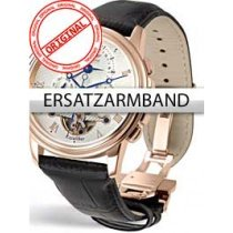 Perigaum Replacement Strap Black 24 mm With Folding Clasp Rose