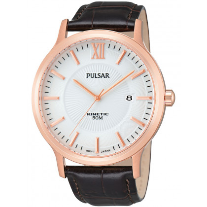Pulsar PAR184X1 Men's Watch Rose Gold Brown Kinetic 5 ATM