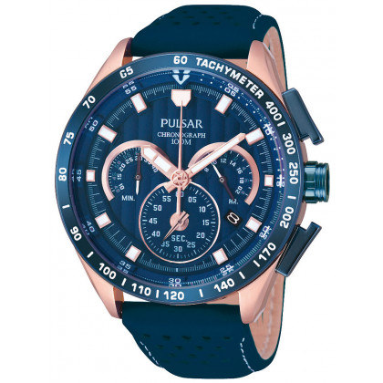 Pulsar PU2082X1 Chronograph Blue Rose Gold 44 mm 10 ATM