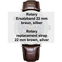 Rotary leather strap brown 22 mm lug width ref. 29163