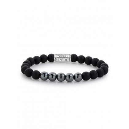Rebel & Rose bracelet Matt Shiny Black  RR-80047-S-M men`s