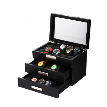 Rothenschild Watch Box RS-2350-30BL for 30 Watches Black