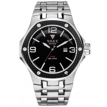 V.O.S.T. Germany V100.009.3S.SC.M.B Steel-Date 44mm 20ATM