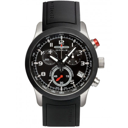 Zeppelin Night Cruise 7292-2 Men's Watch Black Chronograph 43 mm 10 ATM