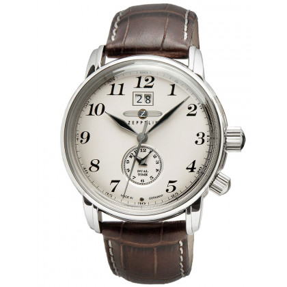 Zeppelin LZ127 7644-5 Men's Watch Dual-Time Brown Silver 42 mm