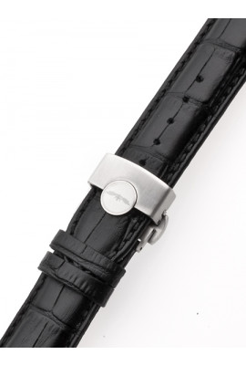 Perigaum Leather Strap 22 x 175 mm Black Silver Folding Clasp